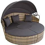 tectake 800764 Canapé de Jardin Chaise Longue Bain de Soleil en Aluminium et résine tressée avec...