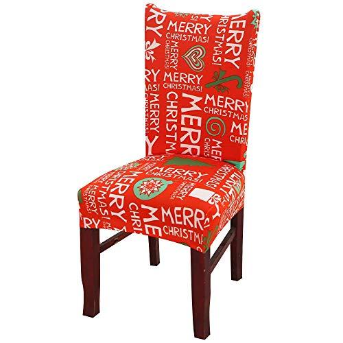 JIANGAA Weihnachten Santa Snowman Elch Chair Back Cover Xmas Home Küche Sitzdekor (Color : 2*Happy Christmas)