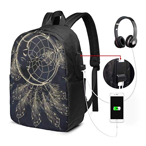 Lawenp Golden Moon in Dark Night Serving Tray Travel Laptop Backpack,Business Anti Theft Slim Durable with USB Charging Port, College School Computer Bag Bookbag Casual Hiking Daypack for Women Men
