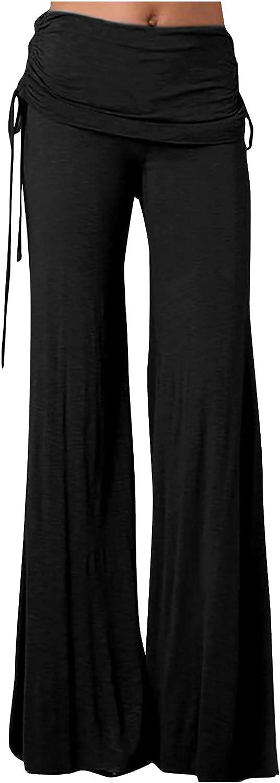VonVonCo Stretch Pants for Women Fanshion Pure Color Comfortable Fold Casual Drawstring Wide Leg Pants