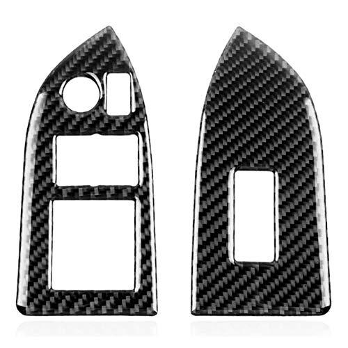 Zhong Ying Subaru Brz Toyota 86 2013-2017 Real Carbon Fiber Car Window Liftボタン装飾カバートリムステッカーアクセサリー (Color : Black)