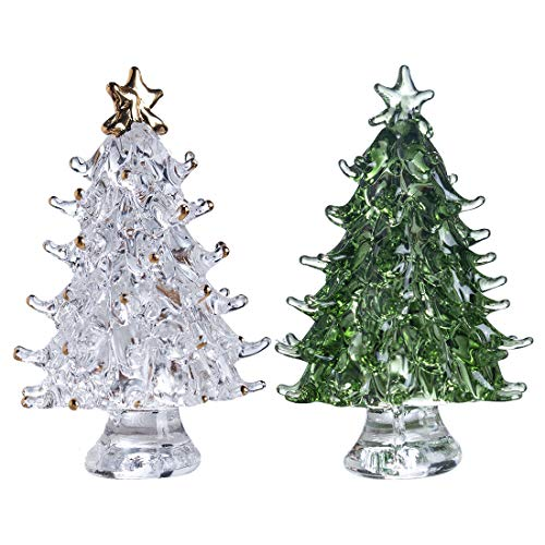 H&D HYALINE & DORA Crystal Glass Christmas Tree Figurines,Pack of 2