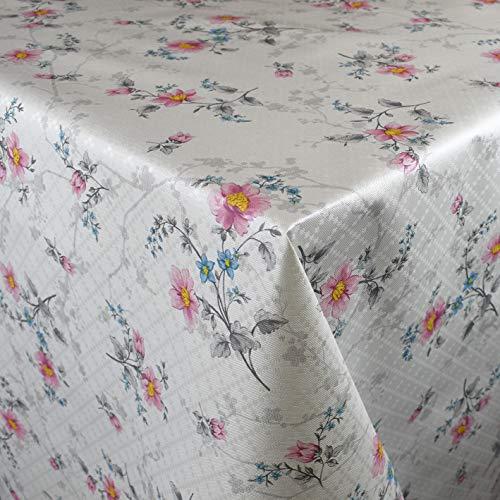 KEVKUS Mantel de Hule, 160 cm de Ancho, P1083-1, diseño de Flores, Color Rosa, para jardín, diseño Ovalado, Borde: Ribetes (con Correa de plástico), Multicolor, 160 x 260 cm eckig