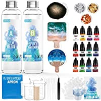 JANCHUN Resin Kit for Beginners,Coating and Casting Coaster Molds for Resin Casting with Foil Flakes Color Pigments,Art...