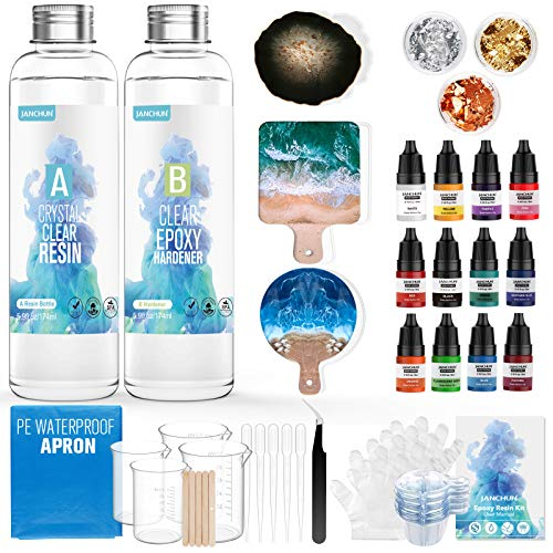 JANCHUN Resin Kit for Beginners,Coating and Casting Coaster Molds for Resin Casting with Foil Flakes Color Pigments,Art Resin Epoxy Resin Crystal Clear for Art,Crafts,Jewelry,DIY,Tumbler,River Table