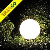 Trango 400 Gartenkugel Leuchte IP44 Kugelleuchte 40cm Durchmesser *GARDEN* in Weiß mit je 5m Zuleitungskabel & 1x E27 Fassung, geeignet für LED Leuchtmittel Gartenleuchte, Außenleuchte, Gartenstrahler
