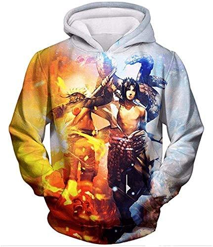 Sudadera con capucha unisex Naruto 3D Pullover Sudadera con capucha Hombres Mujeres Moda Casual Sudaderas con capucha con grandes bolsillos (Color : 4, Size : L)