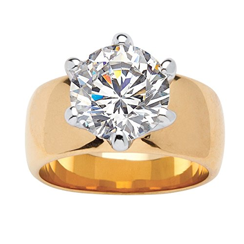 Palm Beach Jewelry 18K Yellow Gold Plated Round Cubic Zirconia Solitaire...
