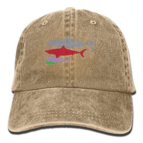 Voxpkrs Unisexe Adulte Requin Couleur Motif Lavé Denim Coton Sport en Plein Air Casquette De Baseball Casquette De Camionneur Réglable Une Taille Marine DV2053