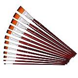 12本入り人工毛使用ペイント用平筆セット、長いハンドル、大型の筆キット、アクリル画、油絵、水彩画、ファインアート用