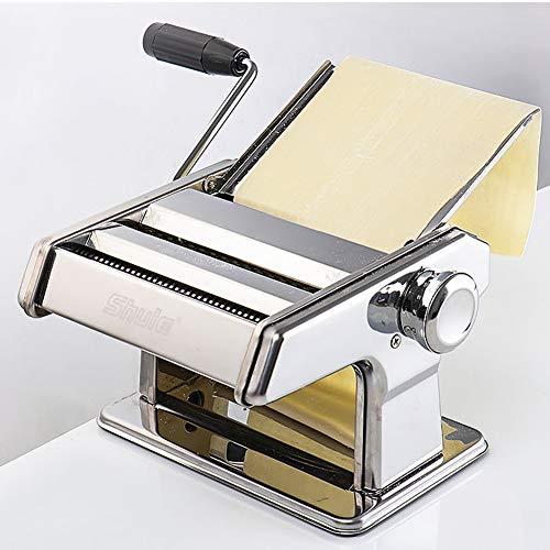 ASY Pasta Maker Machine, Verstelbare RVS Handmatige Pasta Maken Machine Voor Verse Fettuccine Spaghetti Lasagne Deeg Roller Druk Cutter Noodle Maken Machine(zilver)