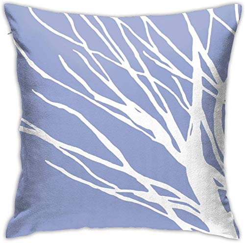WEIMIN Tree Silhouette Periwinkle Blues Throw Pillow Covers Cotton Linen Cushion Cover Cases Pillowcases Sofa Home Decor Gift 18 x 18 in