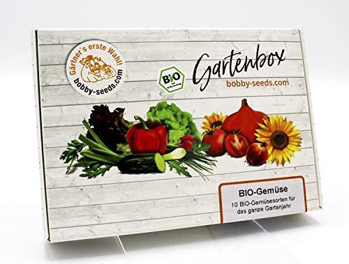 BIO-Gemüse Samen Set von bobby-seeds, 10 Sorten BIO-Gemüsesamen als Set in repräsentativer Gartenbox, Samen-Set mit 10 Sorten und praktischen Stecketiketten