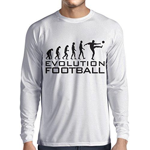 lepni.me Camiseta de Manga Larga para Hombre La evolución del fútbol - Camiseta de fanático del Equipo de fútbol de la Copa Mundial (Large Blanco Negro)