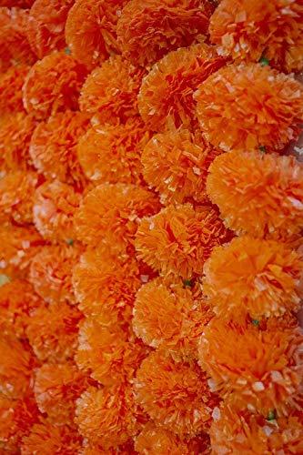 Paquete de 5 guirnaldas artificiales de flores de caléndula artificiales de seda...