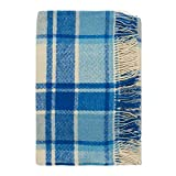 Cozy Wool Blanket, 100% New Zealand Wool, Tartan Design, Blue and White, Twin and Queen Sizes (55' x 79')