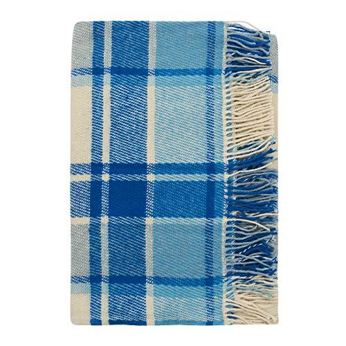 Cozy Blankets   Mantas 100% de Lana de Nueva Zelanda   Tartán Azul y Blanca   170 x 200 cm Cama, Hogar, Exteriores y Acampadas   Lavable, Suave, Diseño de Cuadros