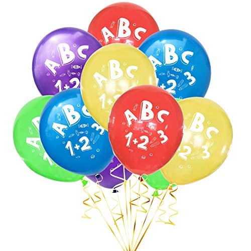Oblique Unique® 10 Luftballons mit ABC und 1+2=3 Motiv für Schuleinführung Einschulung Schulanfang Schulstart Deko Ballons Farbmix Jungs Mädchen