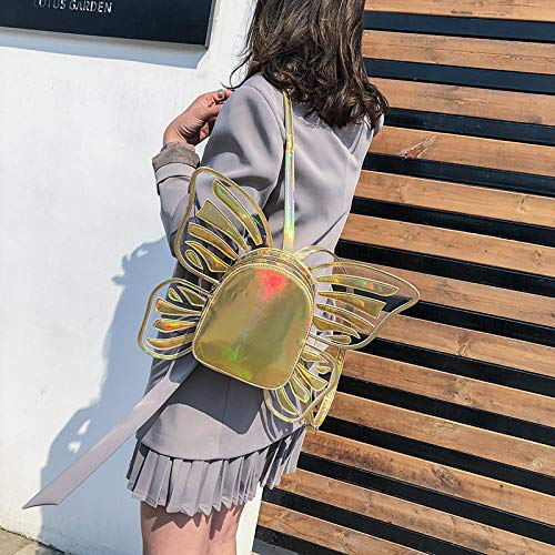 Hanggg Tassen Laser PU Fashion Butterfly Wings Rugzak Dames reistas met grote capaciteit Goud