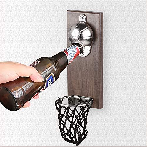 Dveda - Apribottiglie magnetico da parete, per frigorifero, da basket, facile da montare per amanti del basket e della birra
