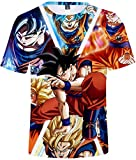FLYCHEN T-Shirt Colorful Impreso en 3D Dragon Ball para Hombre Super Saiyan Cosplay Wu Camiseta Goku - Goku - M