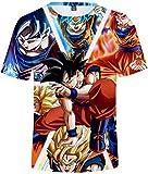 FLYCHEN T-Shirt Colorful Impreso en 3D Dragon Ball para Hombre Super Saiyan Cosplay Wu Camiseta Goku - Goku - XL