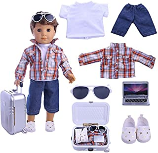 ZWSISU Boy Doll Clothes- Lot 7=1 Daily Travel Notebook Clothes Trunk Set+ 1 Shoes fit for American 18 inch Girl & Boy Dolls Logan Doll Outfits