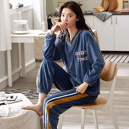 PMZZPLVDS Langarm Pullover Pyjama Anzug Lose Flannel Damen Home Service Herbst Und Winter,XXL