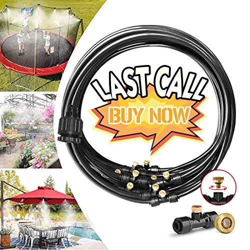 """Misting Cooling System Water Irrigation Fan Misting Mister Kit 33FT (10M) Misting Line + 12 Brass Mist Nozzles + 3/4"""" Brass Adapter for Outdoor Patio Garden Greenhouse"""