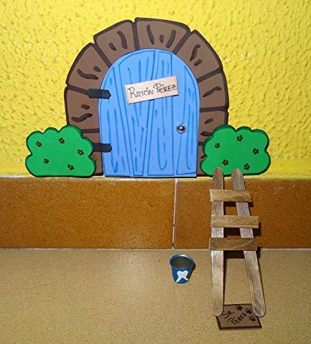 La puerta mágica del ratoncito Pérez personalizable. Incluye escalera, cubito y alfombra.