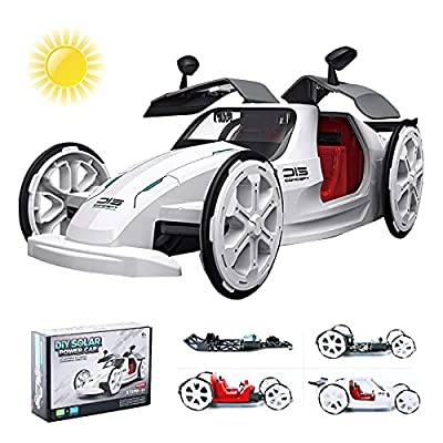 Starpony Firmament STEM Educational Solar Car Toy Powered by Solar and Battery, DIY Engineering Building Toy for Kids Age 6+