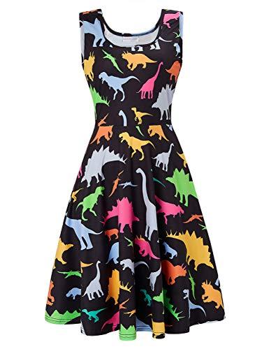 Fanient Womens Dinosaur Print Dress Summer Fun Dress A Line Sleeveless Derss M