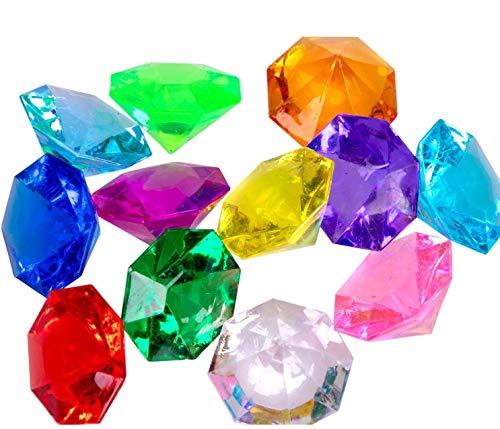 jollylife 36PCS Acrylic Diamond Gems Jewels Pirate Treasure Chest Hunt Party Favors 25 Carat