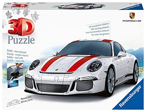 Ravensburger 3D Puzzle 12528 - Porsche 911 R - 3D Puzzle für Kinder und Erwachsene mit 108 Teilen, Modellauto, Modellbau ganz ohne Kleber