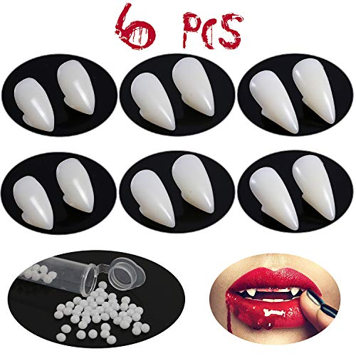 ENlink 6 Pair Vampire Teeth Fangs with Adhesive for Cosplay Prop Decoration Halloween Party Favors Dress Up Accessories