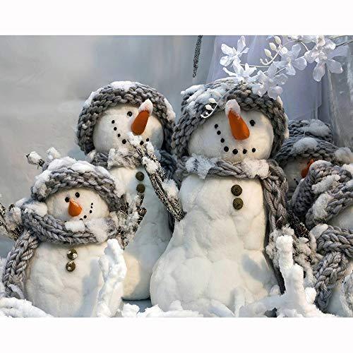 Rails Pupazzo di Neve di Natale Dipingere con Numeri Styles 15.6x19.5 Pollici Pittura a Numero per Ufficio in Camera da Letto - Artigianato Artistico(Senza Cornice)