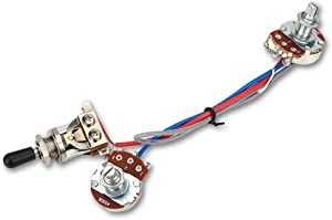 Electric Guitar Wiring Harness, Guitar Wiring Harness Kit 1 Volume 1 Tone 3 Way Toggle Switch 500K for Electric Guitar