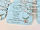 1 to 150 baby boy elephant themed wine charms for baby shower favors. Elephant Decor for upcoming little peanut. 1 charm set. Fully customized.