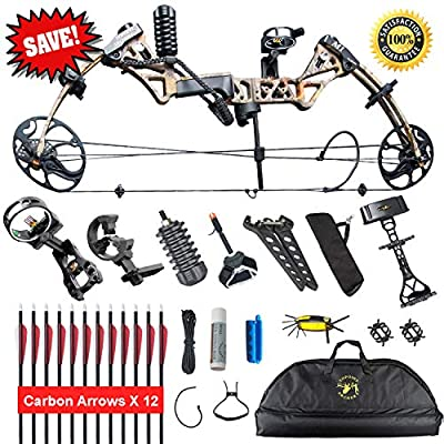 """XGeek Compound Bow,with Hunting Accessories Package,19-30"""" Draw Length:15-70Lbs Draw Weight,IBO Rate 320fps, IBO Limbs Made in USA.(2 Years Warranty)"""