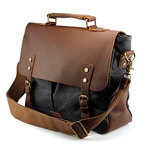 GEARONIC TM Men's Vintage Canvas Leather Messenger Bag Satchel School Military Shoulder Travel Bag (Gray) for Notebook Laptop MacBook 11 and 13 inch Air Pro