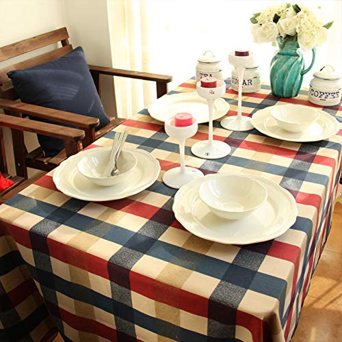 PinShang Baumwoll-Abdeckung für Mikrowelle, Schreibtisch, Computertisch, Konferenztisch, Rot/Blau/Beige, Red Blue Beige Large Grid, 140X250CM