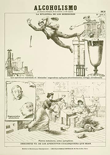 Vintage bieren, wijnen en sterke drank 'Absint - Spaanstalige versie van een Franse anti-alcoholposter, ook gemaakt voor gebruik op scholen', 1927, 250gsm Zacht-Satijn Laagglans Reproductie A3 Poster