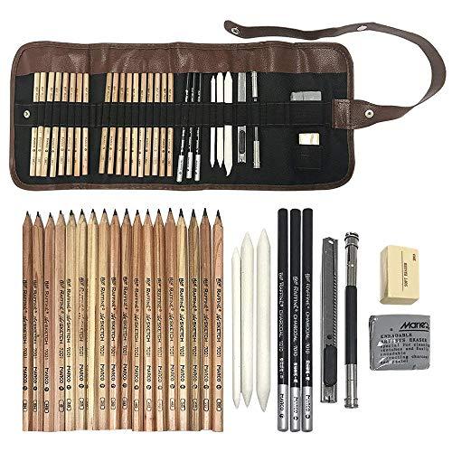Juego de lápices de dibujo profesional, lápices de dibujo de carbón, gomas de borrar, lápiz, extintor, cuchillo de mano y bolsa de lona herramientas de dibujo para principiantes, niños, adultos