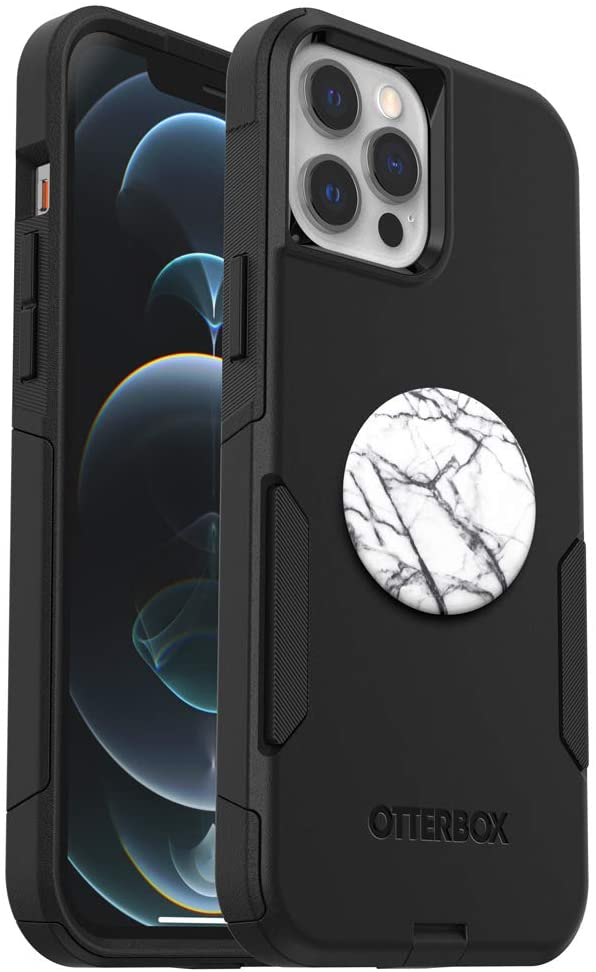 Bundle: OtterBox Commuter Series Case for iPhone 12 Pro Max - (Black) + PopSockets PopGrip - (Dove White Marble)