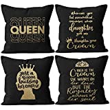 M-Qizi Black Queen Throw Pillow Covers, Daughter Gifts, Daughter Birthday Gift, African Women Girl American with Crown Pillow Cases for Sofa Bed Couch,18 x 18 Inch Set of 4, Daughter Room Decor