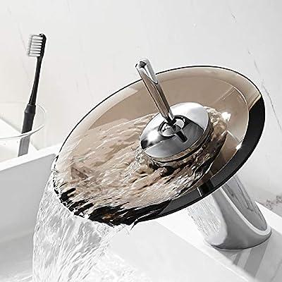 RODDEX Waterfall Bathroom Sink Faucet Solid Brass Modern Glass One Handle Single Hole Basin Vanity Bathroom Faucet, Short, Blue+Chrome