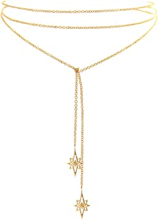 Choker Necklace 18K Gold Plated North Star Chain Wrap Choker Necklace. Length: 42