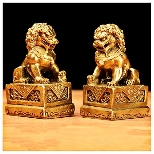 LEILEI Feng Shui Guardian Lion Statue,Feng Shui Brass Fu Foo Dogs Estatua Riqueza Porsperity Figurilla,Atrae Riqueza y Buena Suerte,La Mejor decoración para la Oficina o el hogar