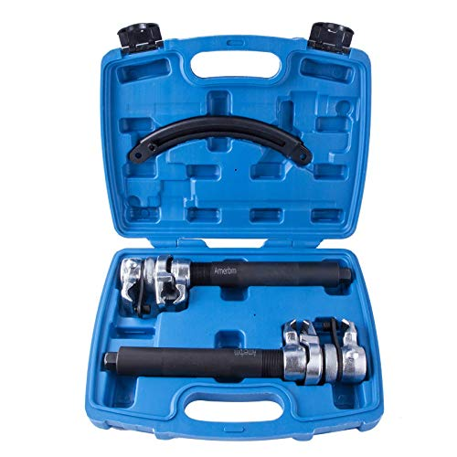 Amerbm Coil Spring Compressor Tool 3PCS - Heavy Duty Build, Ultra Rugged, Strong and Durable Spring Compressor with Safety Guard and Carrying Case