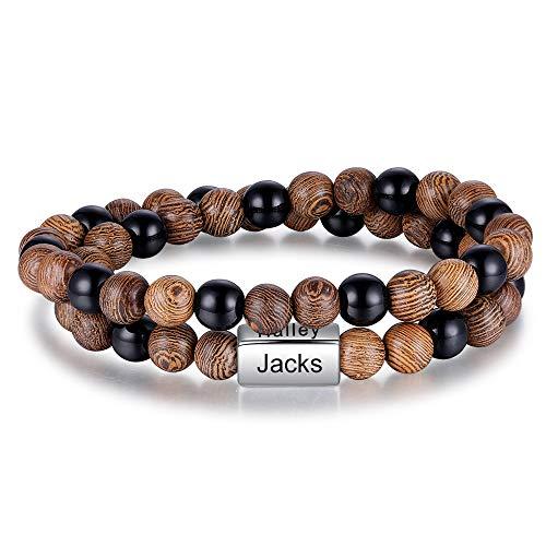 Jewelora Armband für Männer Personalisierte 4 Namen Perlen Armband Gravierte Armreif Paar Überraschung Festival Geschenk für die Familie (#BA-3)